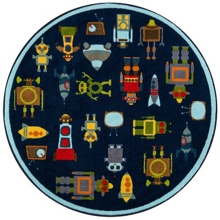 "Momeni Mini Mo Robots Blue Kids Area Rug - 4'4"" x 4'4"" Round"
