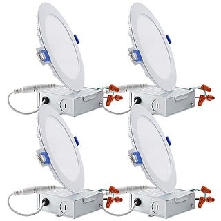 """Essential 12W 6"""" 5000K Recessed Ceiling Light with Junction Box, 4 Pack"""