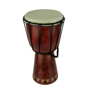 12 Inch Tall Carved Elephant Djembe Drum 6.5 Inch Diameter - 11.5 X 6.5 X 6.5 inches