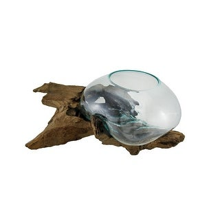 Glass On Teak Driftwood Hand Sculpted Molten Bowl/Plant Terrarium