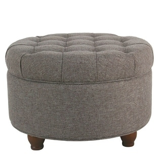 Copper Grove Lamentin Dark Grey Tufted Large Round Storage Ottoman
