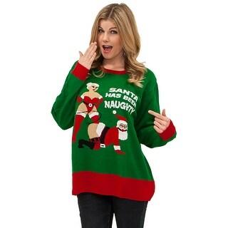 Plus Size Naughty Santa Sweater, Ugly Christmas Sweater - Green - XLarge