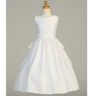 White Satin Pearled Tea Length First Communion Dress Girls 6-14