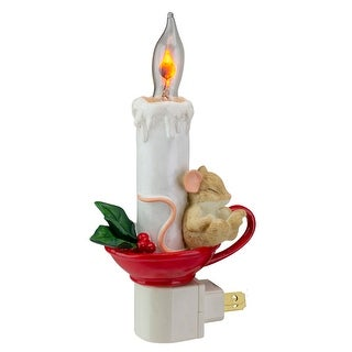 """7"""" Sleeping Mouse in Teacup with Candle Christmas Night Light"""