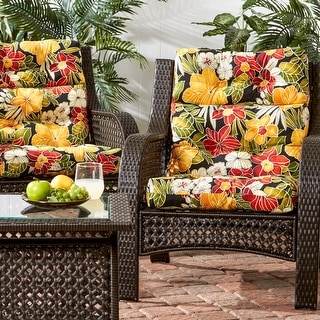 Edisto 3-section 22-inch x 44-inch Outdoor Floral High Back Chair Cushion (Set of 2) by Havenside Home - 44l x 22w