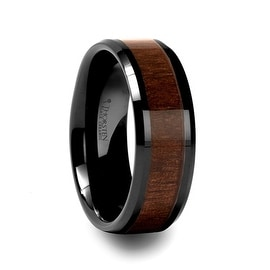 YUKON Beveled Black Ceramic Ring with Black Walnut Wood Inlay