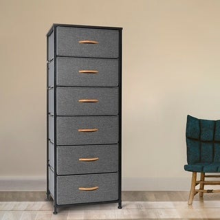 Crestlive Products Vertical Dresser Storage Tower with Wood Top