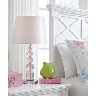 "Letty Pink Crystal Youth Lamp - 12"" W x 12"" D x 23"" H"