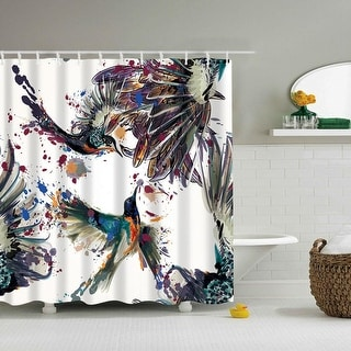 Waterproof Bird Pattern Bathroom Shower Curtain with 12 Hooks