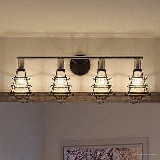 """Luxury Vintage Bathroom Vanity Light, 11""""H x 34.625""""W, with Contemporary Style, Charcoal Finish by Urban Ambiance"""