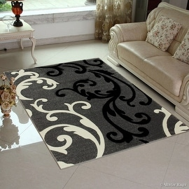 "Grey AllStar Rugs with White and Black Floral Design Modern Geometric Area Rug (3' 9"" x 5' 1"")"