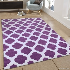 "AllStar Rugs Purple Hand Made Modern. Transitional. design Area Rug with Dimensional hand-carving highlights (4' 11"" x 6' 11"")"