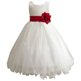 Wedding Easter Flower Girl Dress Wallao Ivory Rattail Satin Tulle (Baby - 14) Red Bright