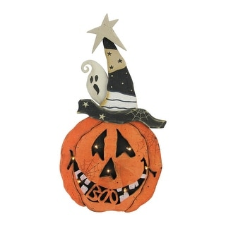 """Black and Orange LED Lighted Battery Operated Pumpkin Halloween Decor 18.75"""""""