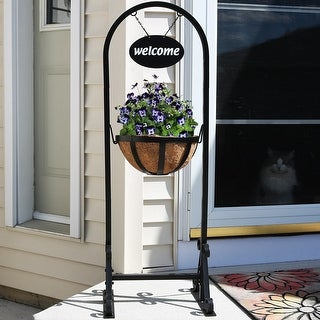 Sunnydaze Hanging Basket Flower Planter Stand with Metal Welcome Sign - 45""
