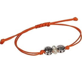 D'AMA Fresh Water Cultured Pearls Adjustable Bracelet, Orange Waxed Cotton And D'AMA Logos, AAA Quality