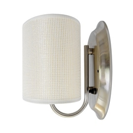 LED 12Volt White Fabric Wall Sconce Elliptical Shade RV Trailer Boat Interior Porch Dinette Room Décor Lamp Warm White