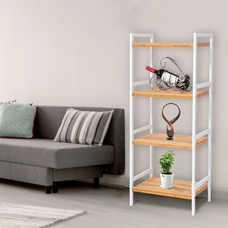 Kinbor 4-Tier Bamboo Bathroom Shelf, Multifunctional Storage Rack Utility Shelf Stand Tower for Living Room, Hallway, Balcony