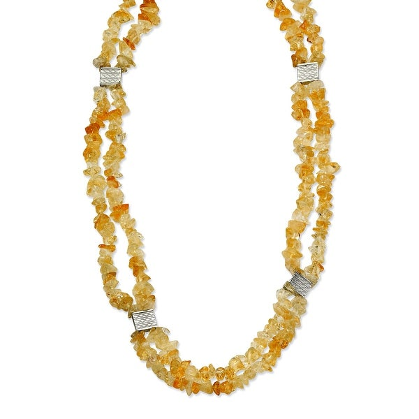 Chisel Stainless Steel Citrine Chip 24 with 2 Inch Extension Necklace (20 mm) - 24 in