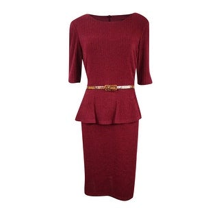 Connected Women's Belted Peplum Sweater Dress