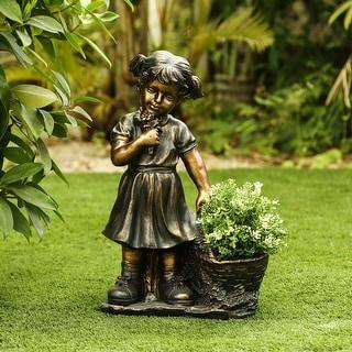 Girl Picking Flowers and Plant Holder Garden Statue