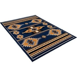 """Allstar Navy Woven High Quality Rug. Traditional. Persian. Flower. Western. Design Area Rugs (3' 9"""" x 5' 1"""")"""