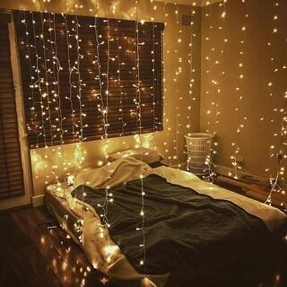 300 LED Window Curtain String Lights, USB Powered, Warm White