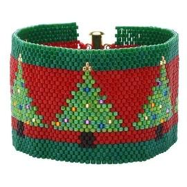 Peyote Bracelet-Christmas Trees on Red - Exclusive Beadaholique Jewelry Kit