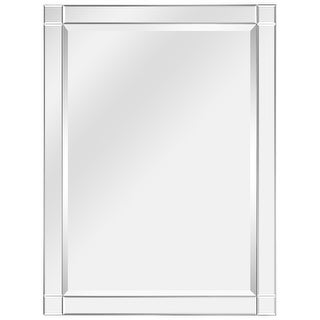 "Moderno Squared Corner Beveled Rectangle Wall Mirror, Solid Wood Frame, 1""-Beveled Center Mirror, Ready to Hang - Clear"