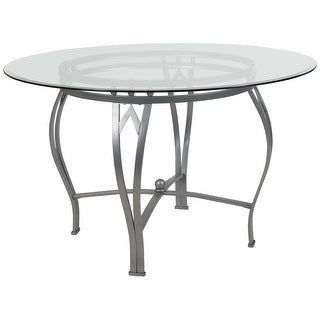 """48"""" Round Glass Dining Table with Bowed Out Matte Metal Frame"""