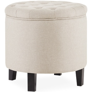 Belleze Button Tufted Storage Ottoman Lift Top Footstool Round, Beige
