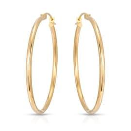 14K YELLOW GOLD CLASSIC HOOP EARRINGS 36MM
