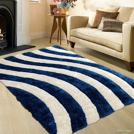 AllStar Rugs Cobalt Shaggy Area Rug with 3D Lines Design. Contemporary Formal Tween Hand Tufted (5' x 7')
