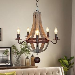 5-Light Farmhouse Wood Chandelier for Dinning Room