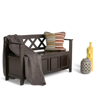 WYNDENHALL Halifax SOLID WOOD 48 inch Wide Transitional Entryway Storage Bench - 48 Inches wide