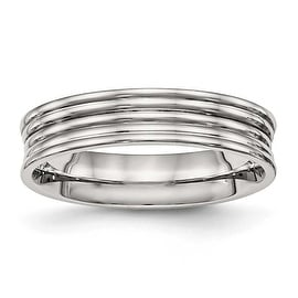 Stainless Steel Polished Ridged 5 mm Band Ring - Sizes 6 - 13