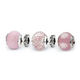 Sterling Silver Reflections Powder Puff Boxed Bead Set