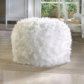 Fuzzy White Ottoman Footstool