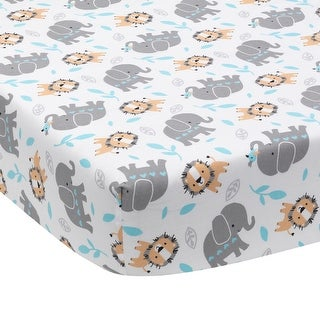 Bedtime Originals Jungle Fun White/Gray/Blue Elephant & Lion Baby Fitted Crib Sheet