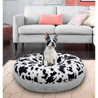 Bessie and Barnie Signature Spotted Pony/ Snow White Luxury Shag Extra Plush Faux Fur Bagel Pet / Dog Bed