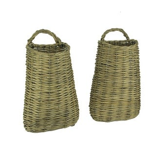 Tall Woven Willow Hanging Wall Baskets Set of 2