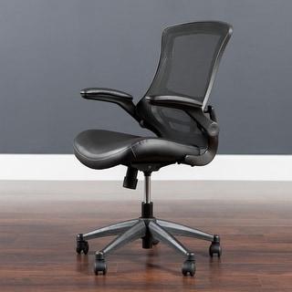 Porch & Den Cedar Hill Mid-back Black Mesh Chair
