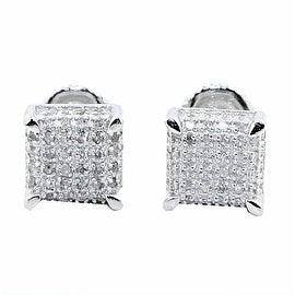 Mens Diamond Stud Earrings Sterling Silver 7.5mm Wide Cube Shaped Screw back 0.3cttw