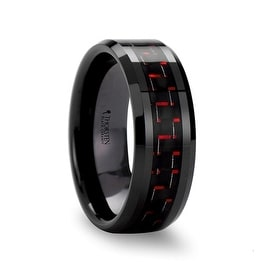 ANTONIUS Beveled Black Ceramic Ring with Black & Red Carbon Fiber