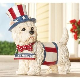 Barking Motion Sensor Patriotic Welcome Dog