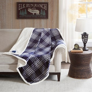 Woolrich Leeds Navy Oversized Plaid Print Faux Mink to Berber Heated Throw