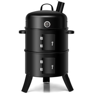 Costway 3-in-1 Portable Round Charcoal Smoker Vertical BBQ Grill