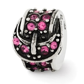 Sterling Silver Reflections Pink Swarovski Elements Buckle Bead (4mm Diameter Hole)