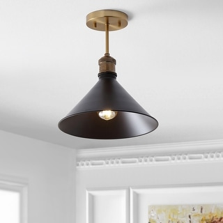 "Nick 11"" Metal LED Semi-Flush mount, Oil Rubbed Bronze by JONATHAN Y"