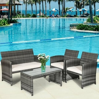 Costway 4PCS Patio Rattan Furniture Set Conversation Glass Table Top